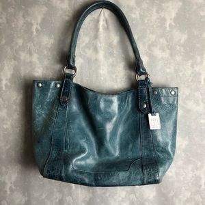 Frye distressed blue leather large shoulder bag